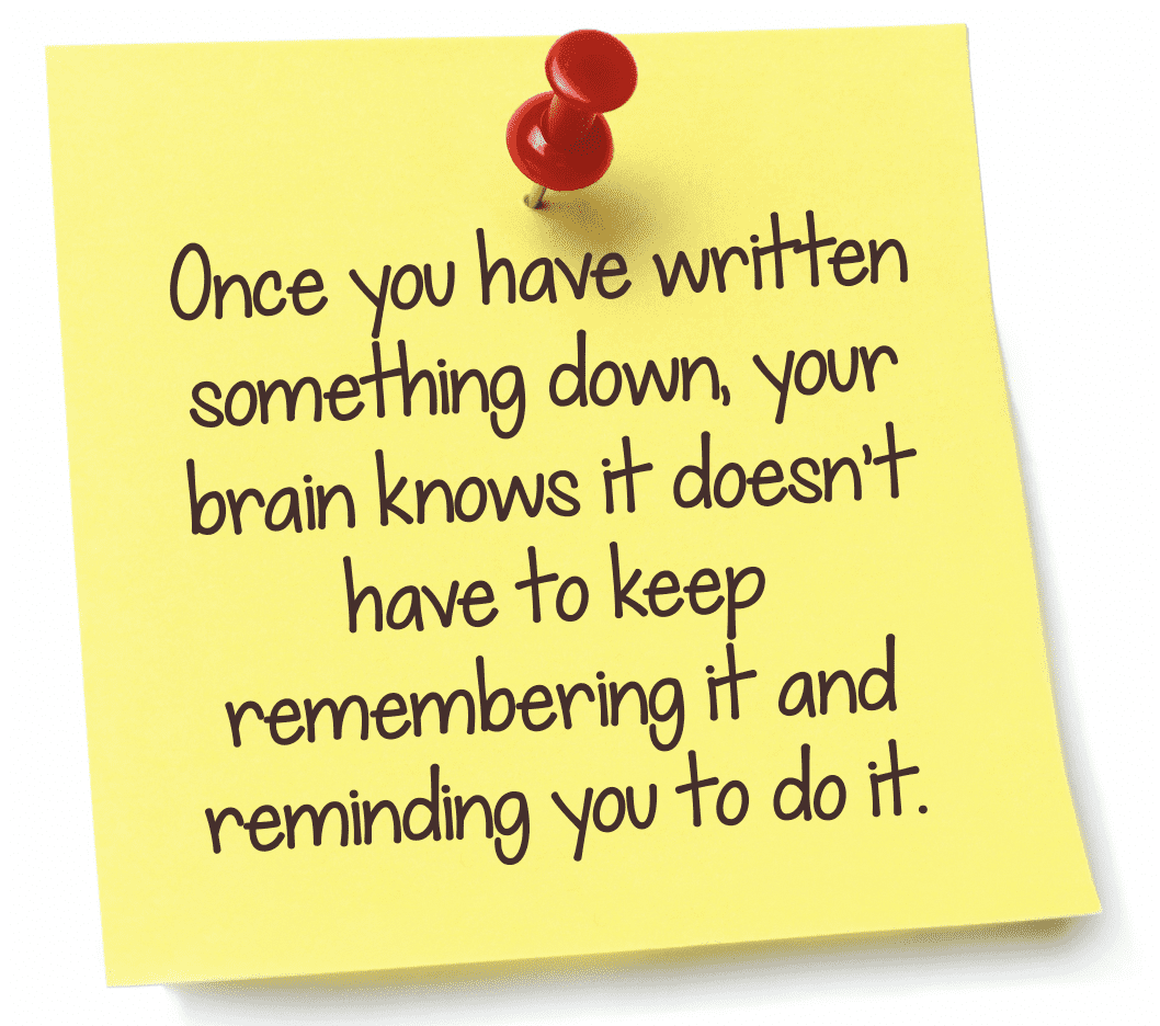 Once you have written something down, your brain knows it doesn't have to keep remembering it and reminding you to do it.
